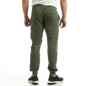 Pantaloni de trening verzi pentru bărbați cu benzi logo  2