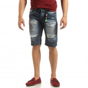 Bermude de blugi pentru bărbați cu imprimeu de patch-uri