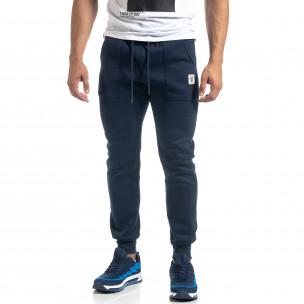 Pantaloni de trening de bărbați albaștri cu buzunare aplicate