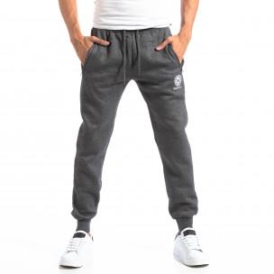 Pantaloni sport gri cu logo pentru bărbați  2