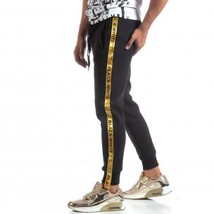 Pantaloni trening negri de bărbați cu imprimeu benzi