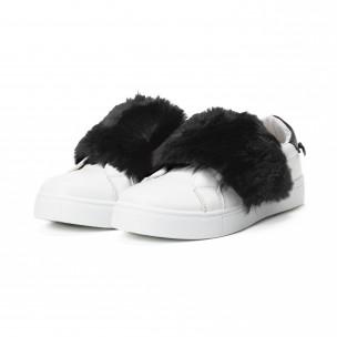 Teniși Slip-on albi de dama cu călcâi și puf negru  2