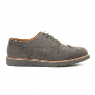 Pantofi casual Wingtip din velur gri pentru bărbați