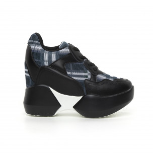 Pantofi sport de dama cu carouri și platformă ascunsă