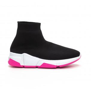 Pantofi sport de dama negri tip șosetă cu talpă Chunky