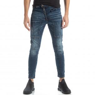 Blugi albaștri Biker style pentru bărbați  2