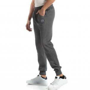Pantaloni sport groși în melanj gri pentru bărbați