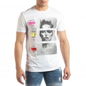 Tricou alb pentru bărbați cu aplicații neon