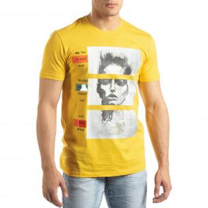 Tricou galben pentru bărbați cu aplicații neon