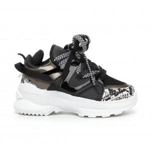 Pantofi sport de dama negri Chunky cu părți lăcuite