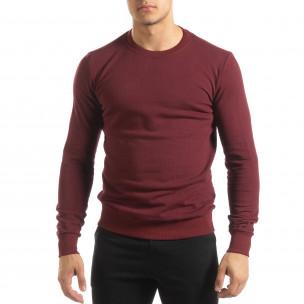 Bluză de bărbați Basic bordo din bumbac 2