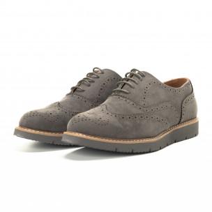 Pantofi casual Wingtip din velur gri pentru bărbați  2