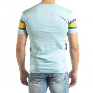 Tricou pentru bărbați albastru cu dungi colorate  2