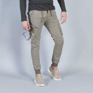 Pantaloni cargo Jogger în gri-bej pentru bărbați