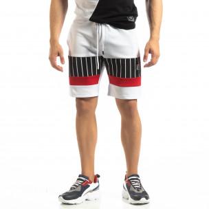 Pantaloni scurți de sport albi cu benzi pentru bărbați   2
