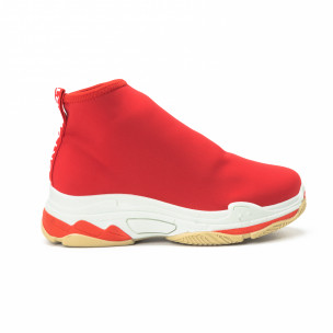 Pantofi sport Slip-on de dama din neopren roșu