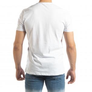 Tricou alb pentru bărbați cu aplicații neon  2