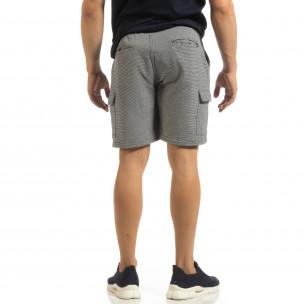 Șort cargo pentru bărbați din tricot albastru cu dungi 2