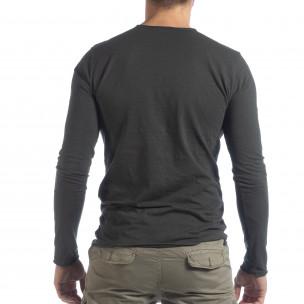 Bluză în gri grafit  V-neck pentru bărbați  2
