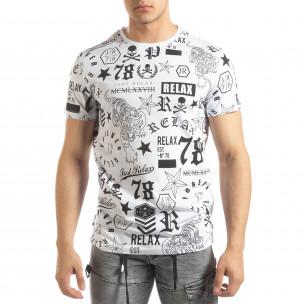 Tricou alb pentru bărbați cu simboluri