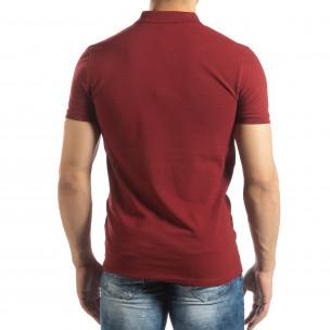 Tricou subțire roșu închis Polo shirt pentru bărbați   2