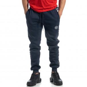 Pantaloni sport albaștri cu bandă pentru bărbați