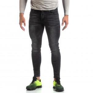 Blugi negri de bărbați Skinny cu efect decolorat