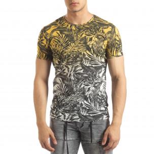 Tricou galben pentru bărbați motiv Leaves