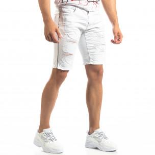 Bermude albi de bărbați cu rupturi și benzi H&H