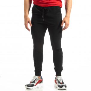 Pantaloni de trening de bărbați Basic negri din bumbac   2