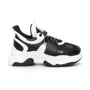 Pantofi sport de dama Chunky negru și alb