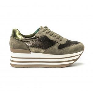 Pantofi sport cu platforma pentru dama în verde militar