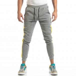 Pantaloni sport pentru bărbați din bumbac gri cu galben  2
