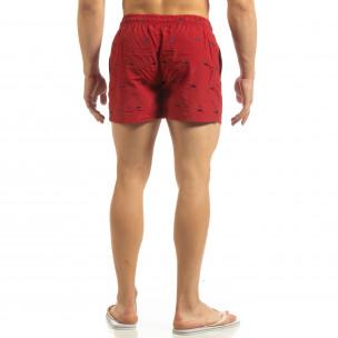 Costum de baie pentru bărbați roșu cu rechini 2