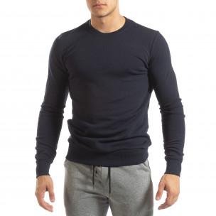Bluză de bărbați Basic bleumarin din bumbac  2