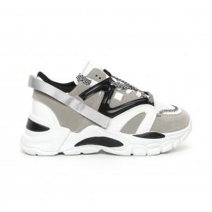 Pantofi sport de dama gri design Chunky