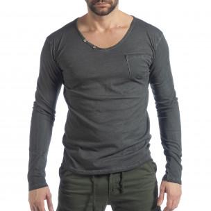 Bluză pentru bărbați gri Vintage stil