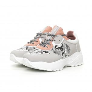 Pantofi sport ușori pentru dama gri și roz 2