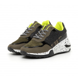 Pantofi sport de dama verzi cu accente Mix 2