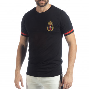 Tricou pentru bărbați negru Heraldic