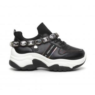 Pantofi sport de dama negri cu pietre 2