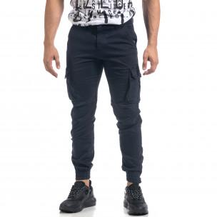 Pantaloni cargo albaștri flaușați pentru bărbați 2