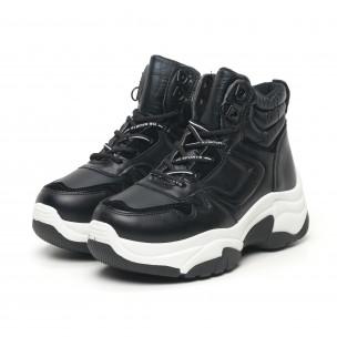 Pantofi sport înalți de dama negre tip botine 2