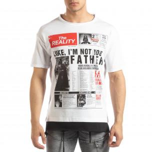 Tricou alb Darth Vader pentru bărbați