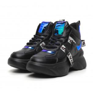 Pantofi sport de dama înalți cu accente neon 2