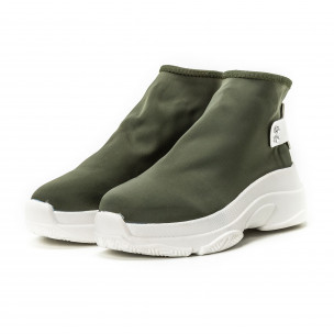 Pantofi sport fără șireturi pentru dama din neopren verde  2