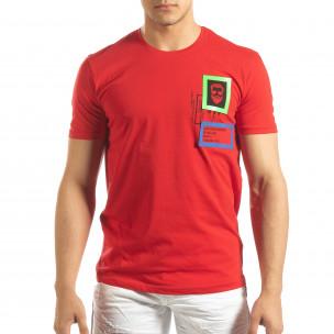 Tricou roșu pentru bărbați cu aplicații din cauciuc  2