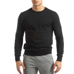 Bluză de bărbați Basic neagră din bumbac  2