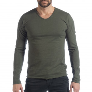 Bluză în verde militar V-neck pentru bărbați