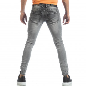 Washed Slim Jeans gri pentru bărbați  2